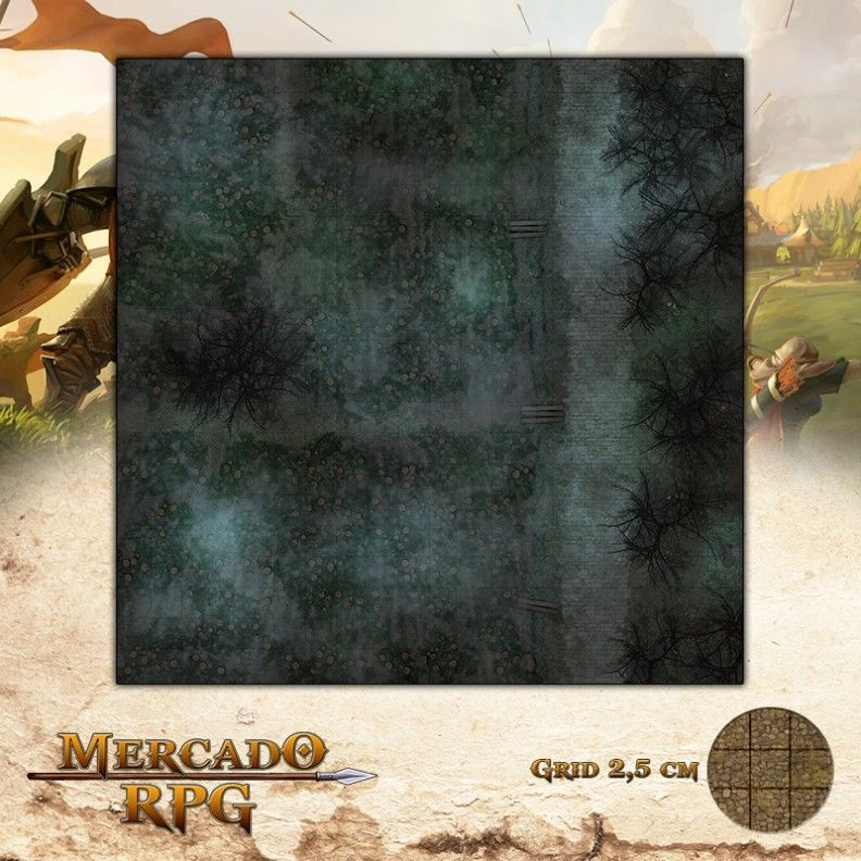 Campos de Abóboras Noite 50x50 - RPG Battle Grid D&D  - Mercado RPG
