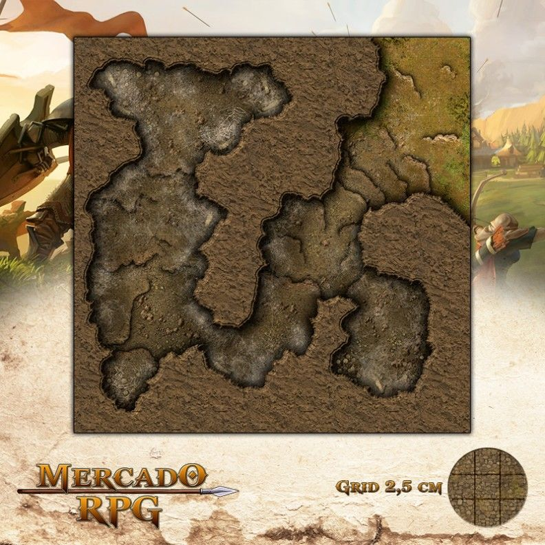 Caverna da Aranha 50x50 - RPG Battle Grid D&D  - Mercado RPG