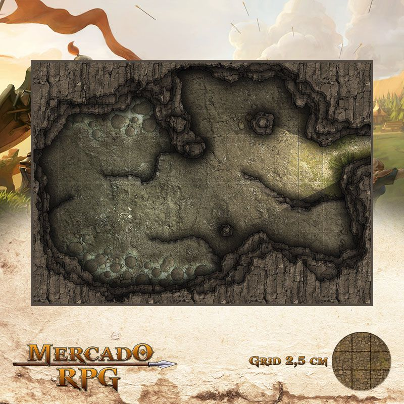 Caverna das Poças 25x35 Grid de Batalha - RPG Battle Grid D&D