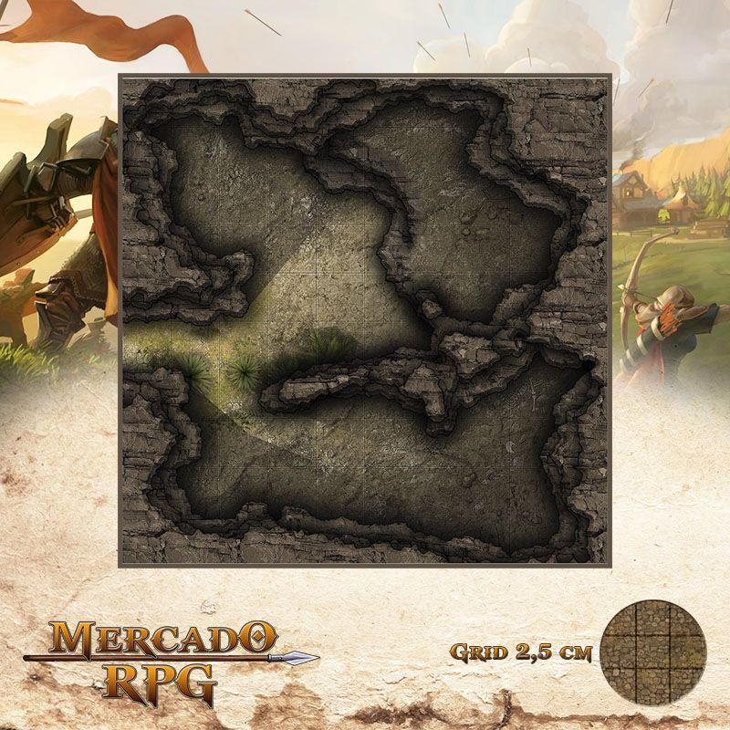Caverna Traiçoeira 25x25 Grid de Batalha - RPG Battle Grid D&D