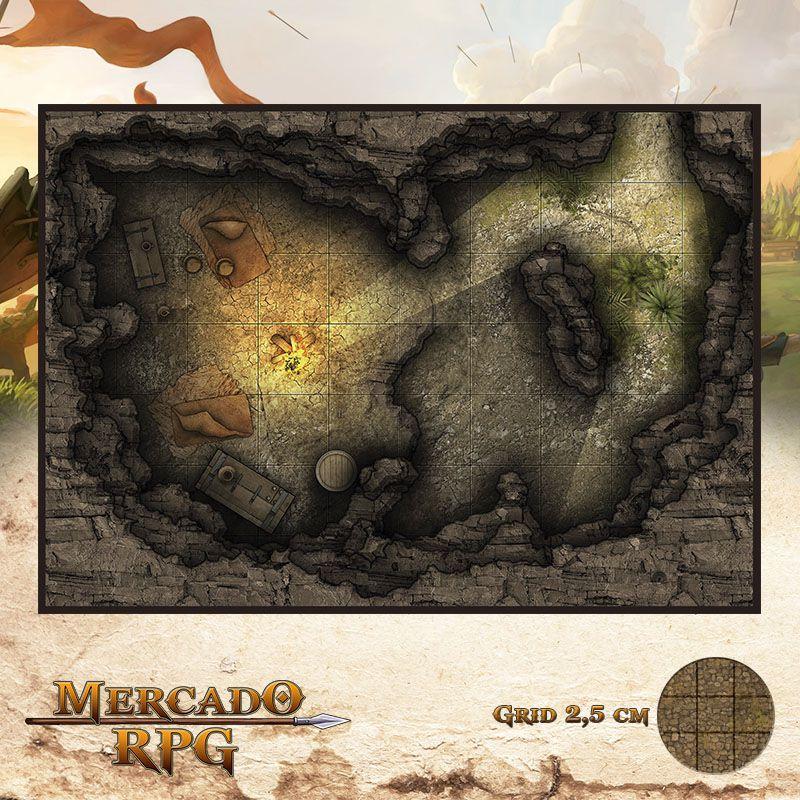Caverna do Esconderijo 25x18 Grid de Batalha - RPG Battle Grid D&D