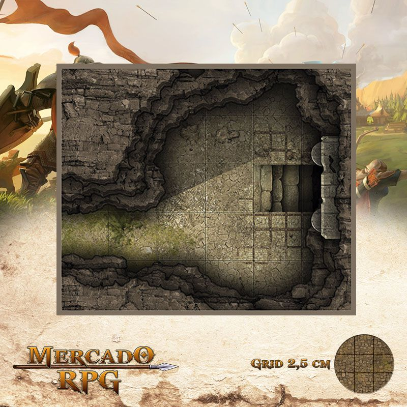 Caverna do Portal 15x13 Grid de Batalha - RPG Battle Grid D&D