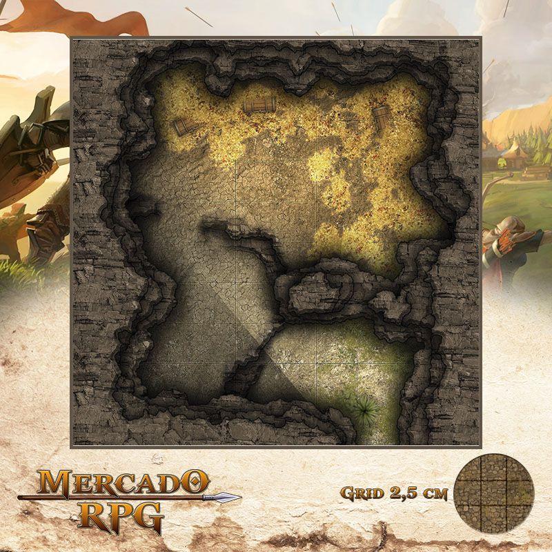 Caverna do Tesouro 25x25 Grid de Batalha - RPG Battle Grid D&D