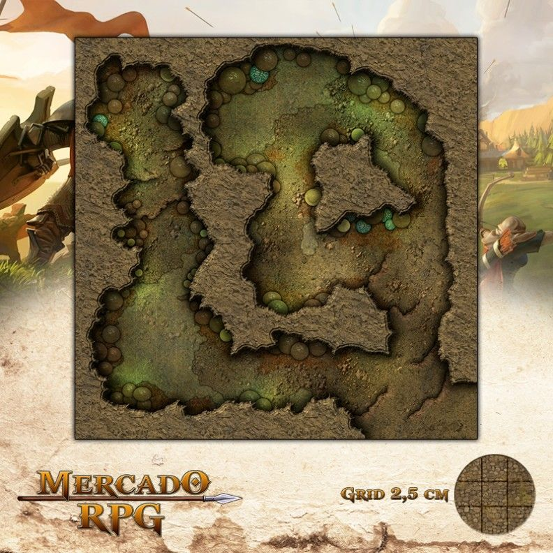 Caverna dos Espóros 50x50 - RPG Battle Grid D&D  - Mercado RPG