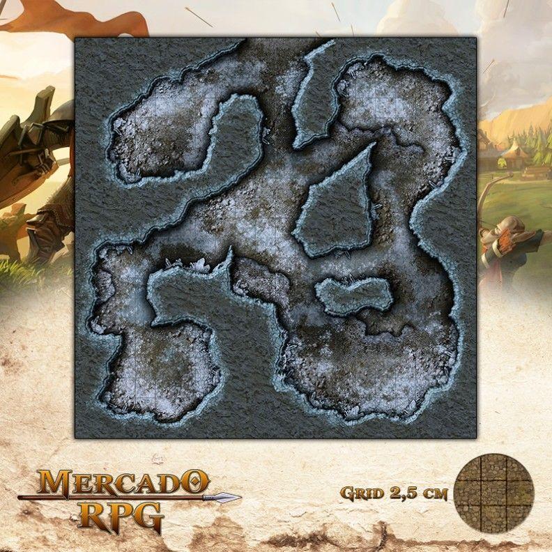 Caverna Gelada 50x50 Grid de Batalha - RPG Battle Grid D&D