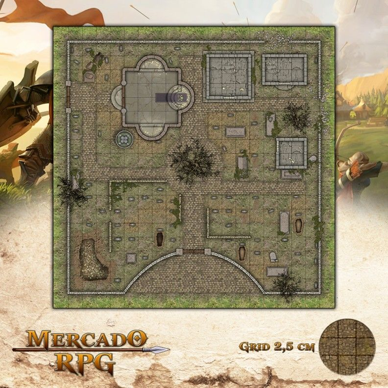 Cemitério - Dia 50x50 - RPG Battle Grid D&D