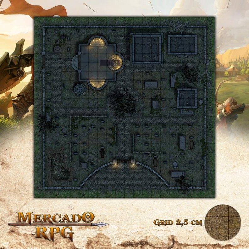 Cemitério - Noite 50x50 Grid de Batalha - RPG Battle Grid D&D