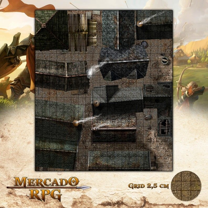 Cidade - Becos 47x55 - RPG Battle Grid D&D  - Mercado RPG