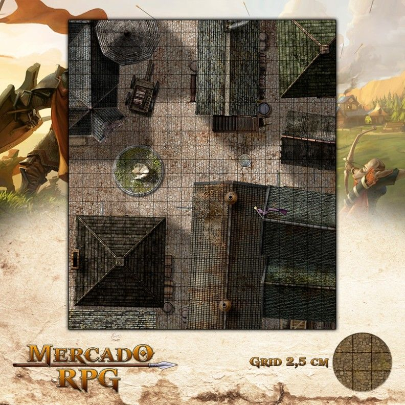 Cidade - Centro 47x55 - RPG Battle Grid D&D  - Mercado RPG