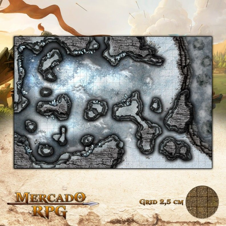 Caverna do Dragão Branco 50x75 - RPG Battle Grid D&D
