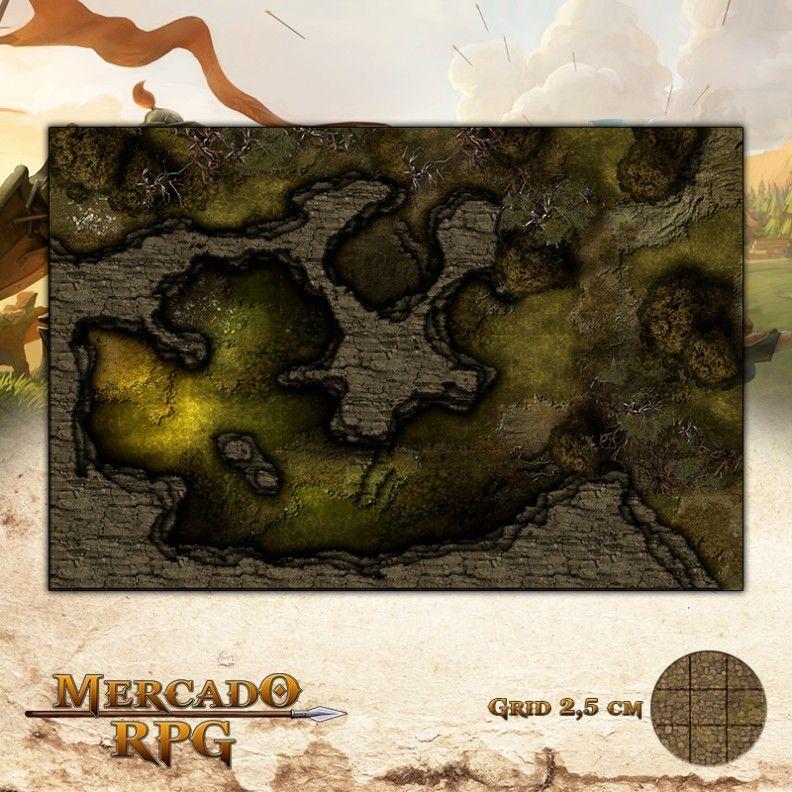 Caverna do Dragão Negro 50x75 - RPG Battle Grid D&D
