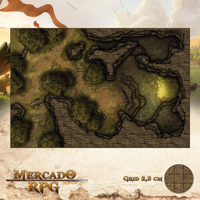 Covil do Dragão Verde 50x75 - RPG Battle Grid D&D  - Mercado RPG
