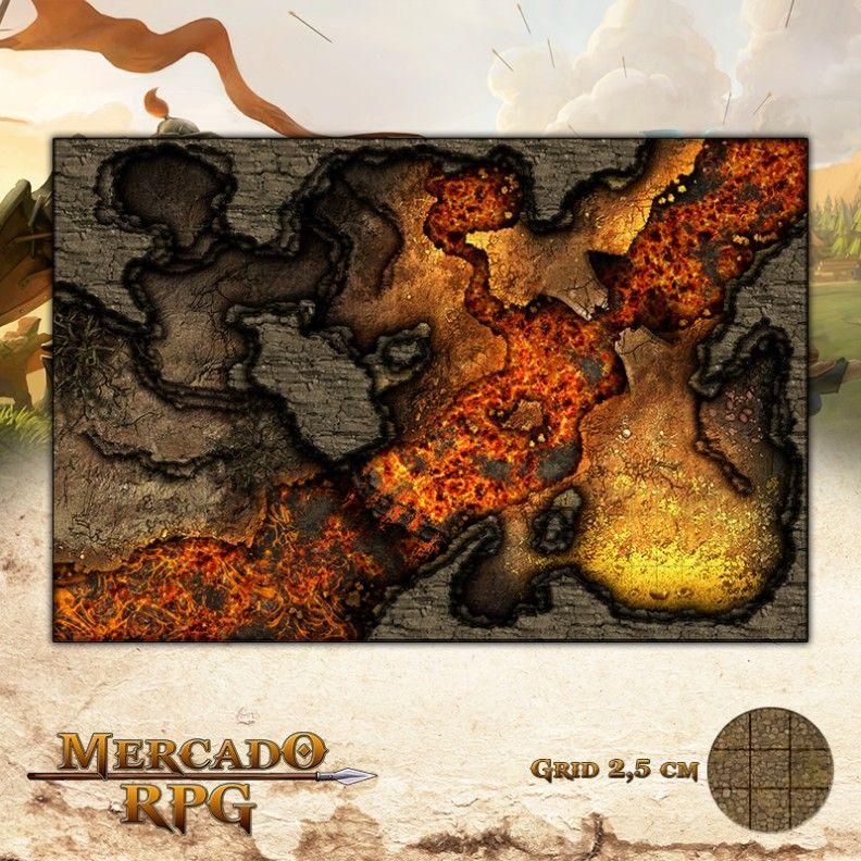 Covil do Dragão Vermelho 50x75 - RPG Battle Grid D&D