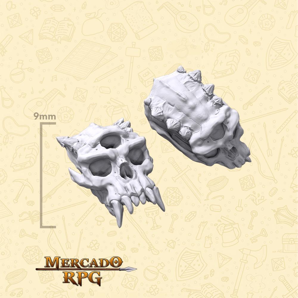 Crânios de Ciclopes para Bases e Cenários - Miniatura - RPG