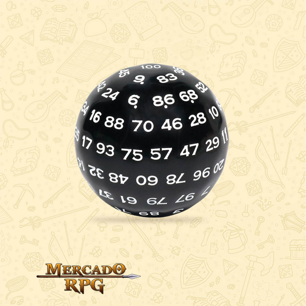 Dado de RPG - D100 Black Opaque Dice - Cem Lados - Mercado RPG