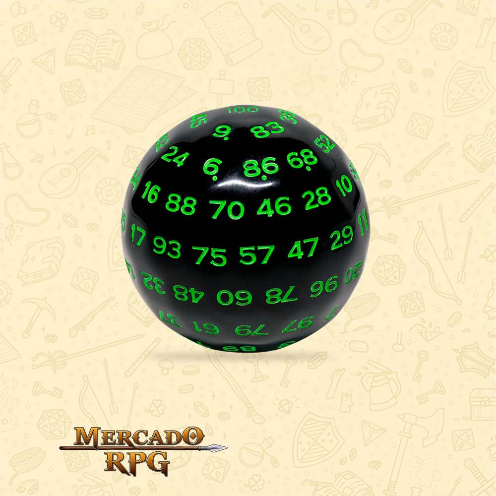 Dado de RPG - D100 Black Opaque Dice Green Font - Cem Lados - Mercado RPG