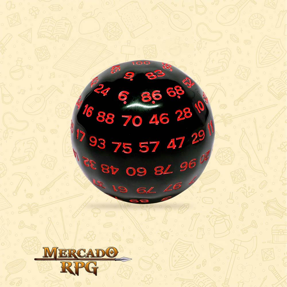 Dado de RPG - D100 Black Opaque Dice Red Font - Cem Lados - Mercado RPG