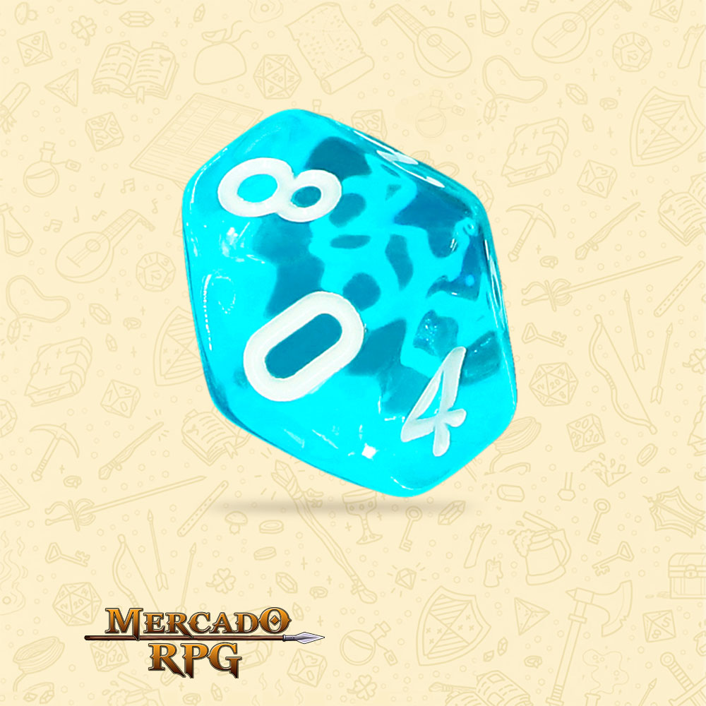 Dado de RPG - D10 Azure Gems Transparent Dice - Dez Lados - Mercado RPG