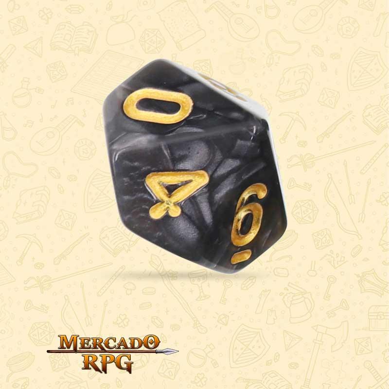 Dado de RPG - D10 Black Pearl Dice Golden Font - Dez Lados - Mercado RPG