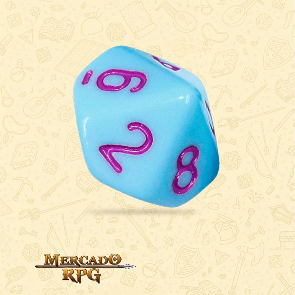 Dado de RPG - D10 Blue Jay Opaque Dice Purple Font - Dez Lados - Mercado RPG