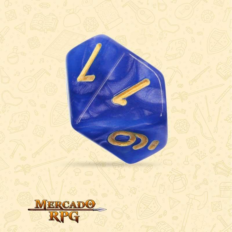 Dado de RPG - D10 Blue Pearl Dice Golden Font - Dez Lados - Mercado RPG