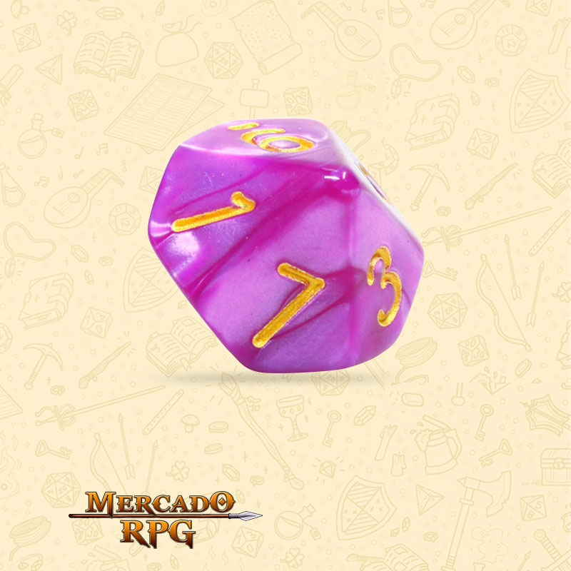 Dado de RPG - D10 Dark Purple Pearl Dice - Dez Lados - Mercado RPG