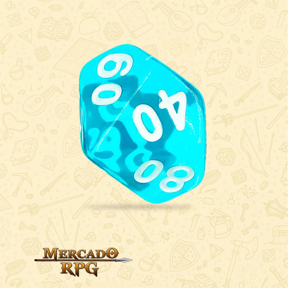 Dado de RPG - D10 Dezena Azure Gems Transparent Dice - Dez Lados - Mercado RPG