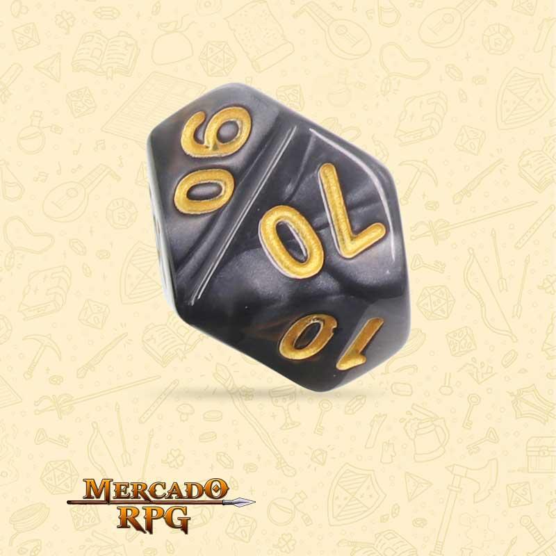 Dado de RPG - D10 Dezena Black Pearl Dice Golden Font - Dez Lados - Mercado RPG