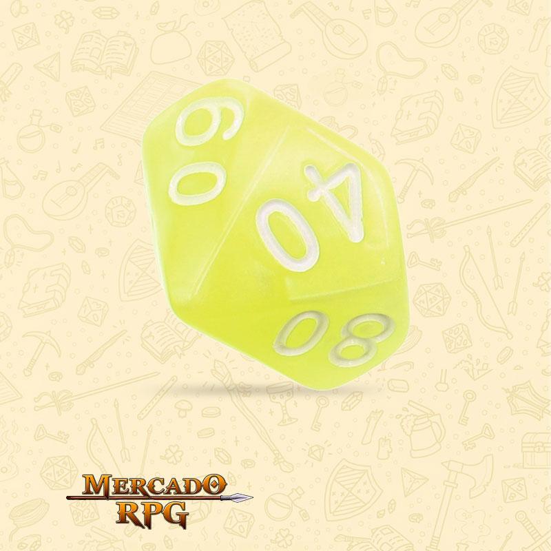 Dado de RPG - D10  Dezena Bright Yellow Pearl Dice - Dez Lados - Mercado RPG