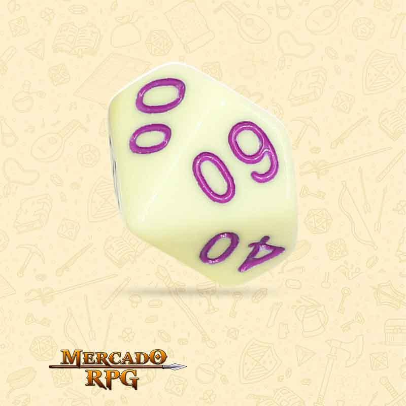 Dado de RPG - D10 Dezena  Eggshell Rose Opaque Dice Purple Font - Dez Lados - Mercado RPG