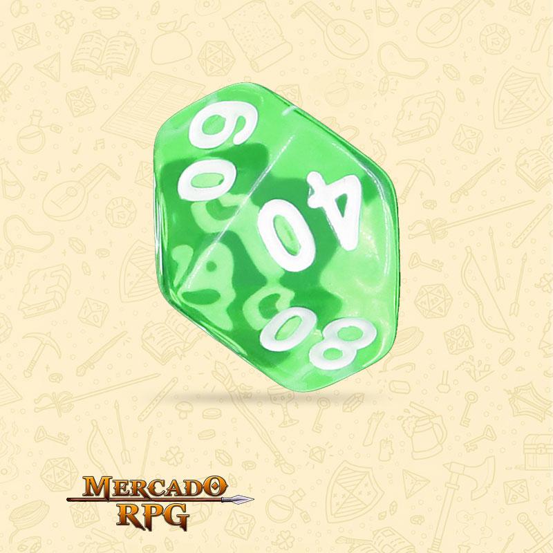 Dado de RPG - D10 Dezena Esmerald Gems Transparent Dice - Dez Lados - Mercado RPG