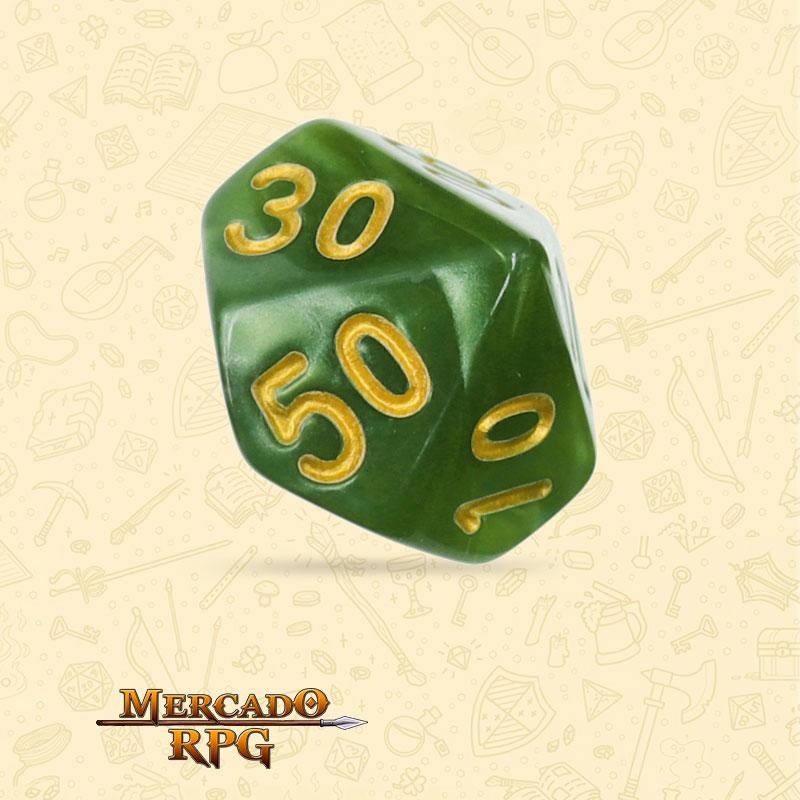 Dado de RPG - D10 Dezena Grass Green Pearl Dice Golden Font - Dez Lados - Mercado RPG
