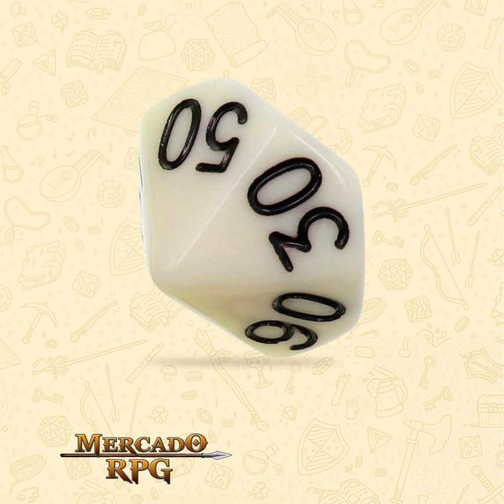 Dado de RPG - D10 Dezena Ivory Opaque Dice - Dez Lados - Mercado RPG