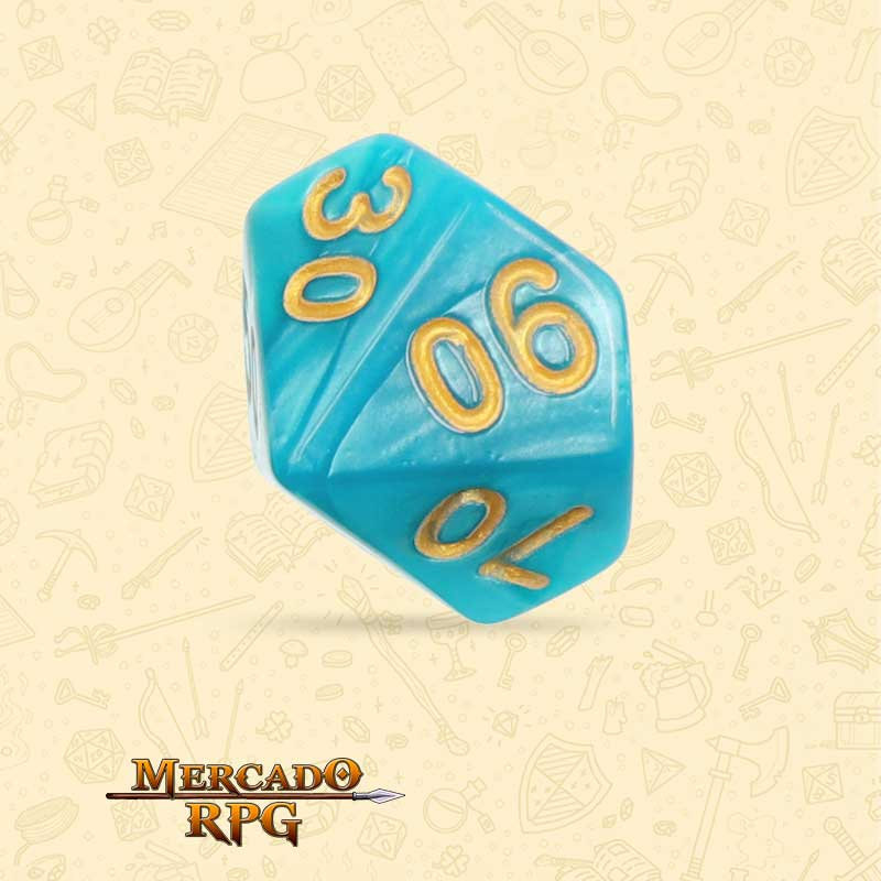Dado de RPG - D10 Dezena Lake Blue Pearl Dice Golden Font - Dez Lados - Mercado RPG