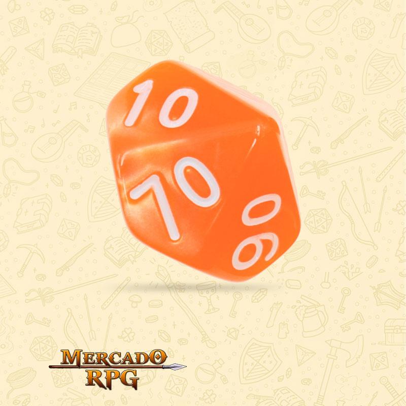 Dado de RPG - D10 Dezena Orange Pearl Dice - Dez Lados - Mercado RPG