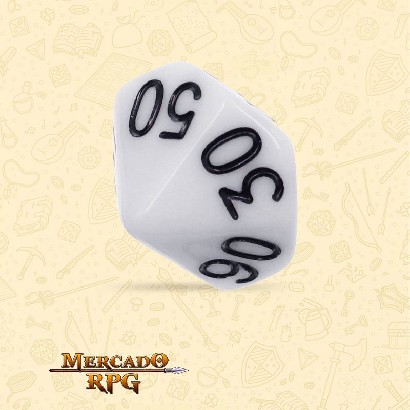Dado de RPG - D10 Dezena White Opaque Dice - Dez Lados - Mercado RPG