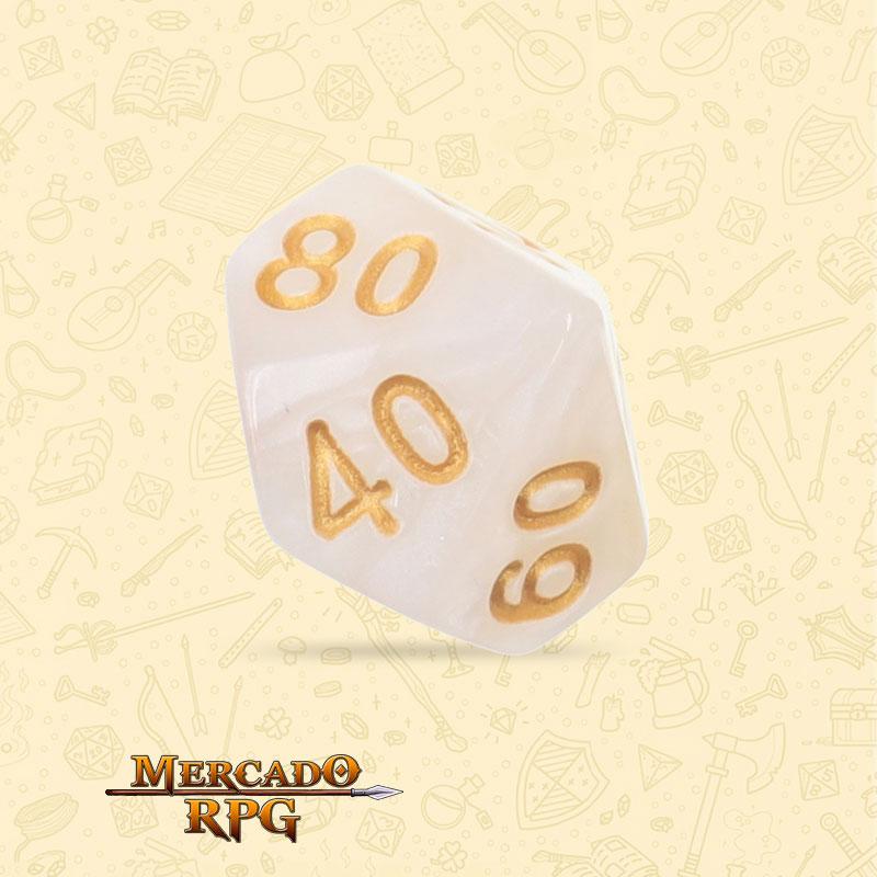 Dado de RPG - D10 Dezena White Pearl Dice - Dez Lados - Mercado RPG
