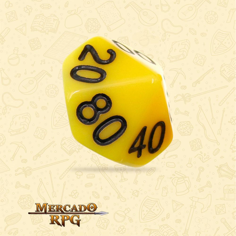 Dado de RPG - D10 Dezena Yellow Opaque Dice Black Font - Dez Lados - Mercado RPG