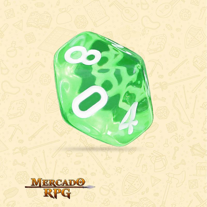 Dado de RPG - D10 Esmerald Gems Transparent Dice - Dez Lados - Mercado RPG