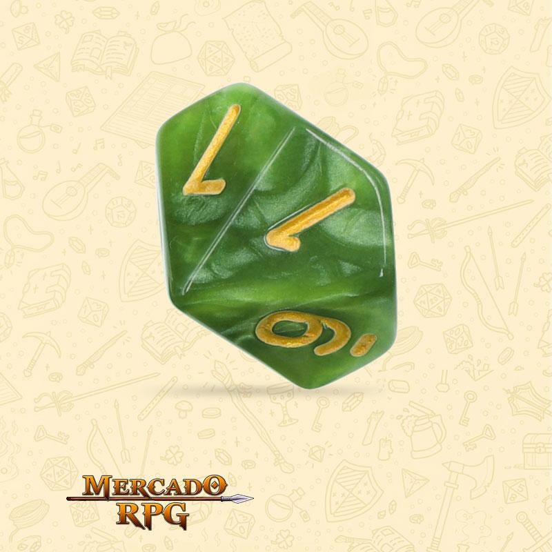 Dado de RPG - D10 Grass Green Pearl Dice Golden Font - Dez Lados - Mercado RPG