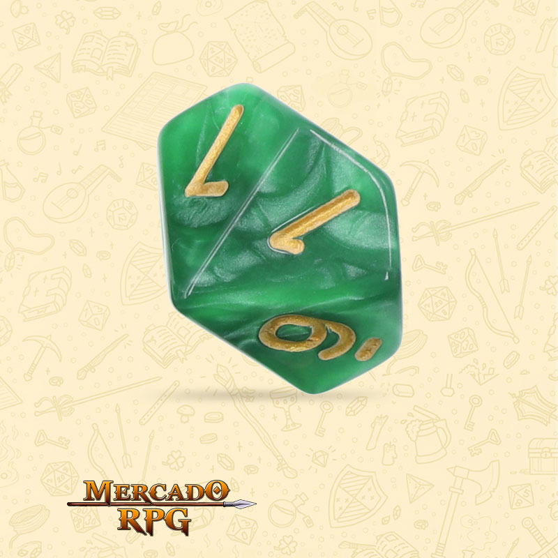 Dado de RPG - D10 Green Pearl Dice Golden Font - Dez Lados - Mercado RPG