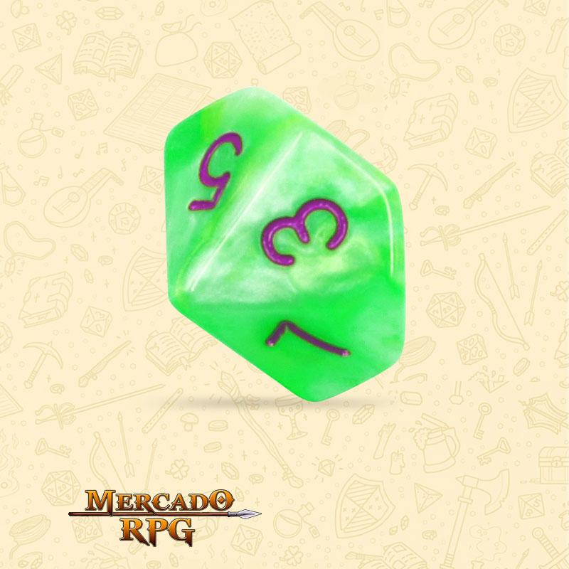 Dado de RPG - D10 Green Pearl Dice Purple Font - Dez Lados - Mercado RPG