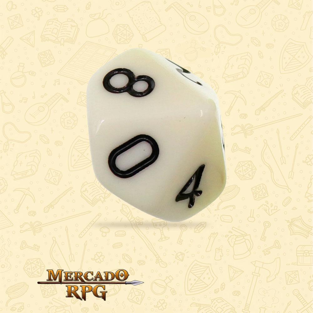 Dado de RPG - D10 Ivory Opaque Dice - Dez Lados - Mercado RPG