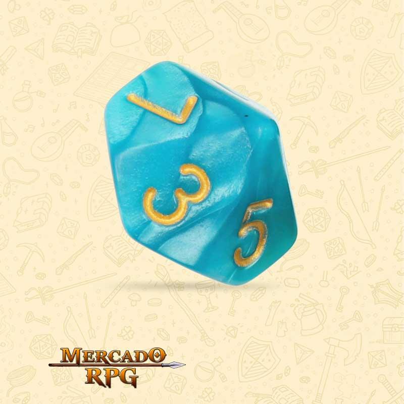 Dado de RPG - D10 Lake Blue Pearl Dice Golden Font - Dez Lados - Mercado RPG