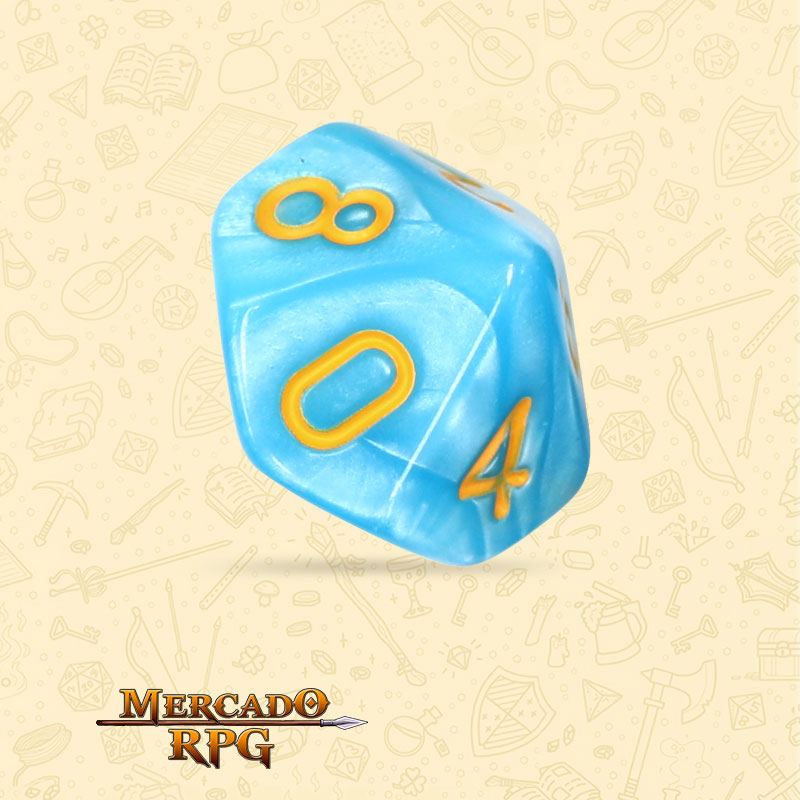 Dado de RPG - D10 Light Blue Dice Yellow Font - Dez Lados - Mercado RPG