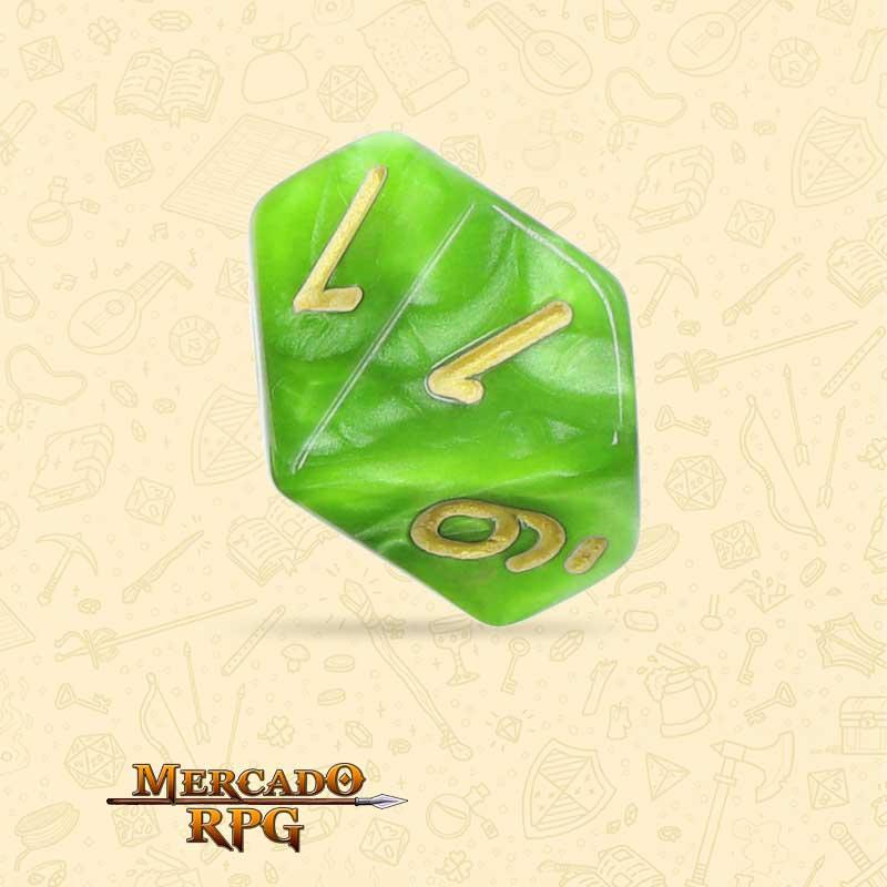 Dado de RPG - D10 Light Green Pearl Dice Golden Font - Dez Lados - Mercado RPG