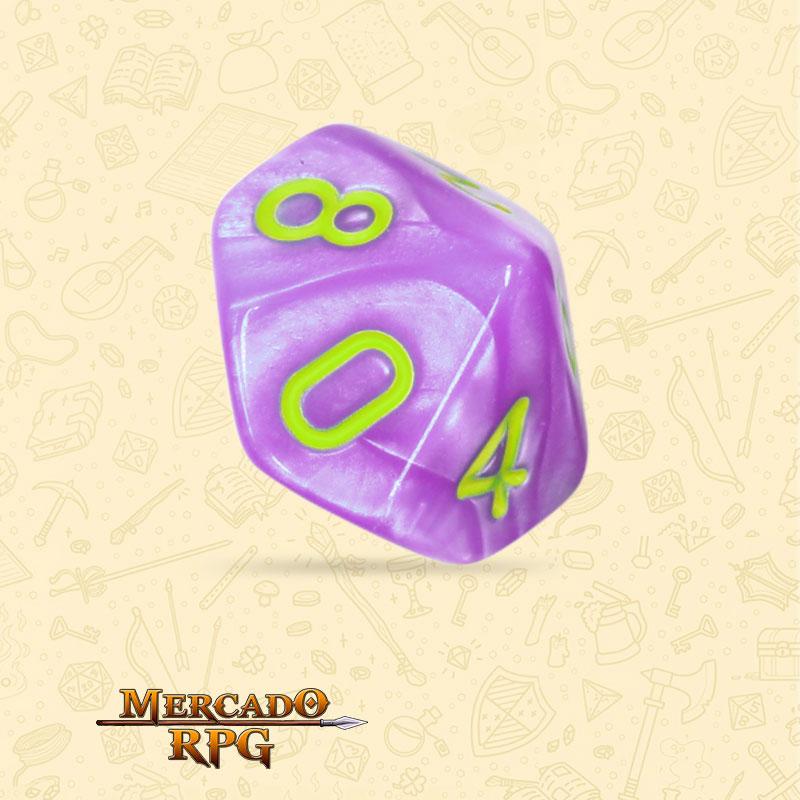 Dado de RPG - D10 Light Purple Dice Green Font - Dez Lados - Mercado RPG
