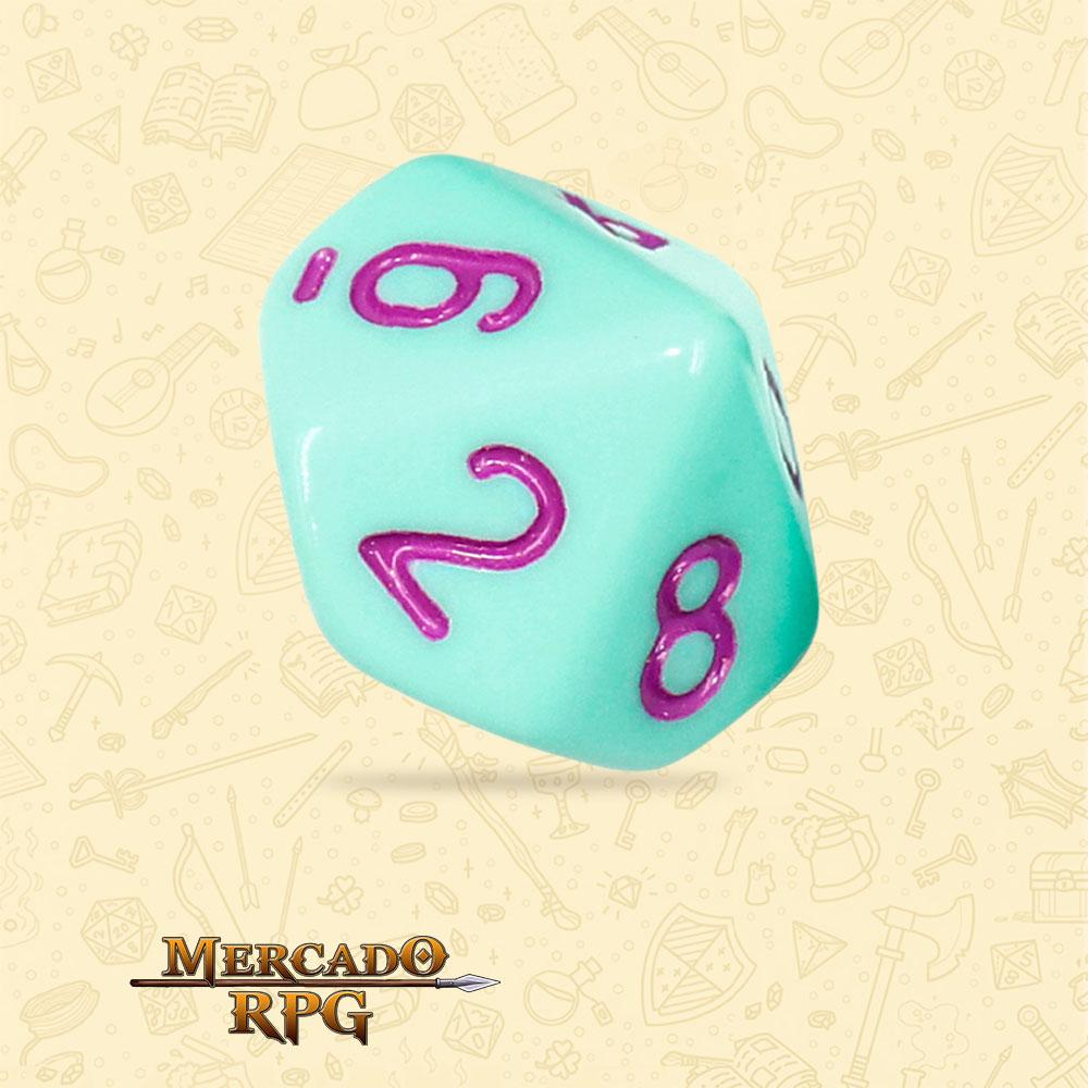 Dado de RPG - D10 Mint Rose Opaque Dice Purple Font - Dez Lados - Mercado RPG