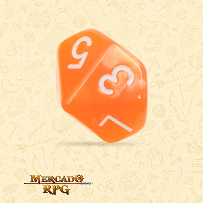Dado de RPG - D10 Orange Pearl Dice - Dez Lados - Mercado RPG
