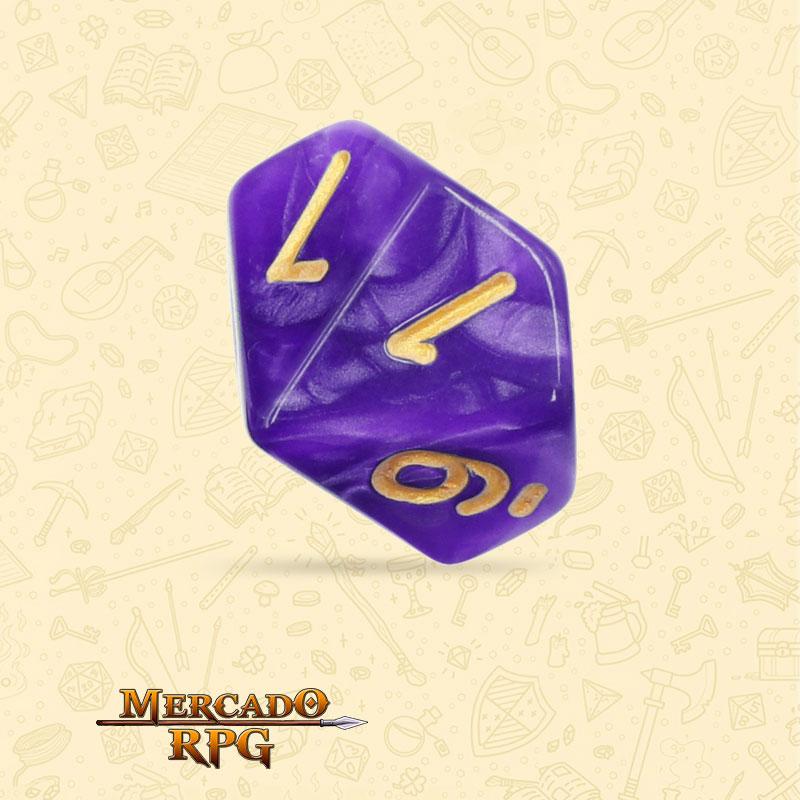 Dado de RPG - D10 Purple Pearl Dice Golden Font - Dez Lados - Mercado RPG